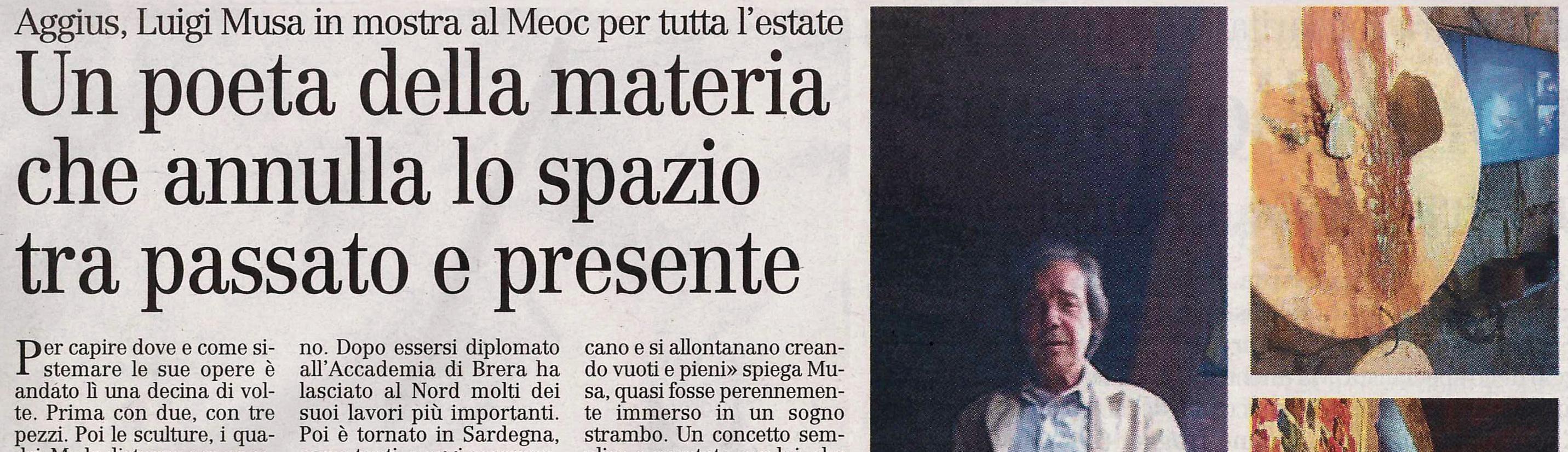 """Museo MEOC – """"unadistanza"""" di Luigi Musa – Articolo """"L'Unione Sarda"""""""